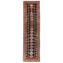 Antique Persian Bijar Runner Rug with Colored Cross and Flower Medallions
