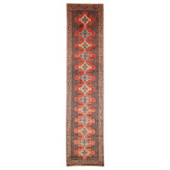 Antique Persian Bijar Runner Rug with Ivory and Blue Diamond Medallions