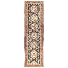 Antique Persian Bijar Runner Rug with Ivory Floral Medallions