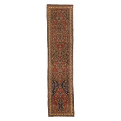 Antique Persian Bijar Runner Rug with Navy Blue and Red Floral Medallions