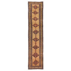 Antique Persian Bijar Runner Rug with Navy & Red Diamond Floral Medallions