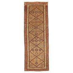 Antique Persian Bijar Runner Rug with Orange & Yellow Floral Medallions