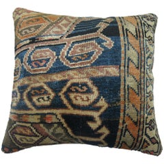Antique Persian Blue Orange Accent Oriental Rug Pillow