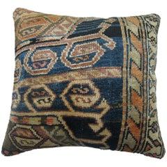 Antique Persian Blue Orange Accent Oriental Rug Pillow