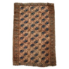 Antique Persian Bokhara Hand Knotted Nomadic Tribal Rug, circa 1920