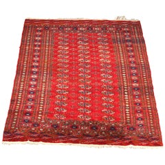 Antique Persian Bokhara Nomadic Tribal Wool Oriental Rug, circa 1920