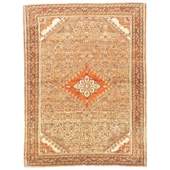 Antique Persian Borchalo Rug with Brown & White Diamond Central Medallion