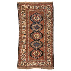 Antique Persian Brown Kurdish Carpet, circa 1920s