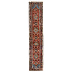 Antique Persian Burgundy Blue Geometric Tribal Heriz Runner Rug circa 1920-1930s