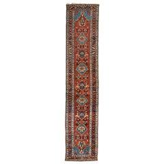 Antique Persian Burgundy Blue Geometric Tribal Heriz Runner Rug circa 1920-1930s