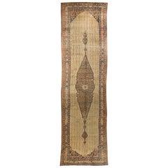 Antique Persian Camel Hair Serab Runner Rug