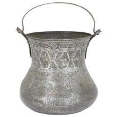 Antique Persian Copper and Tin Inlaid Bucket
