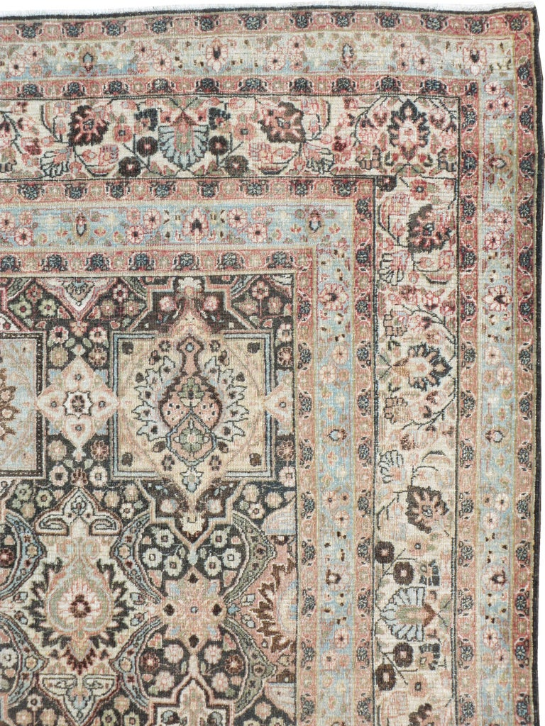 Hand-Knotted Antique Persian Dorokhsh Carpet For Sale
