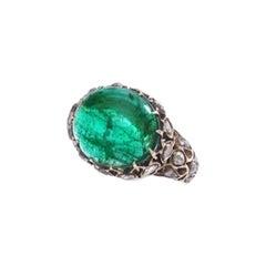 Antique Persian Emerald Diamond Gold Ring