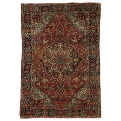 Antique Persian Farahan Accent Rug with Mid-Century Modern Style