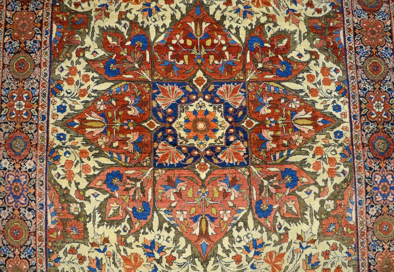 Vegetable Dyed Red, Cream, and Light Blue Antique Persian Farahan Carpet c. 1890 in Pure Wool For Sale