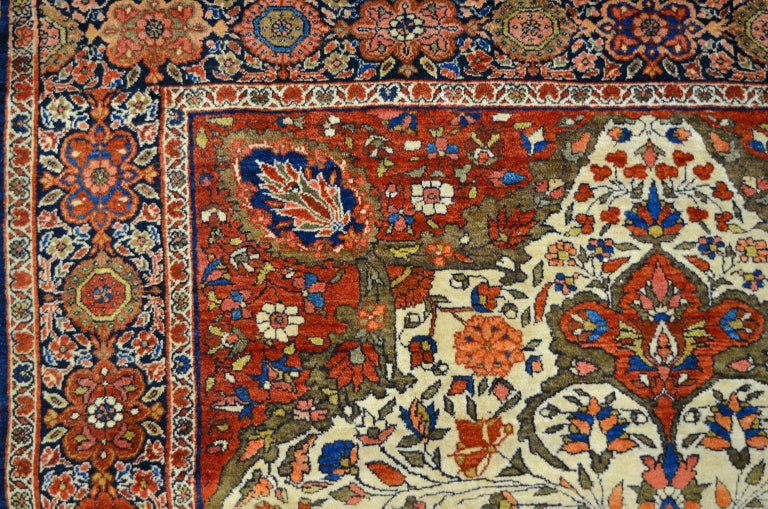 19th Century Red, Cream, and Light Blue Antique Persian Farahan Carpet c. 1890 in Pure Wool For Sale
