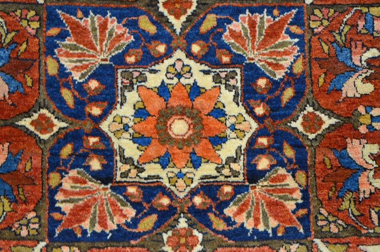 Red, Cream, and Light Blue Antique Persian Farahan Carpet c. 1890 in Pure Wool For Sale 1