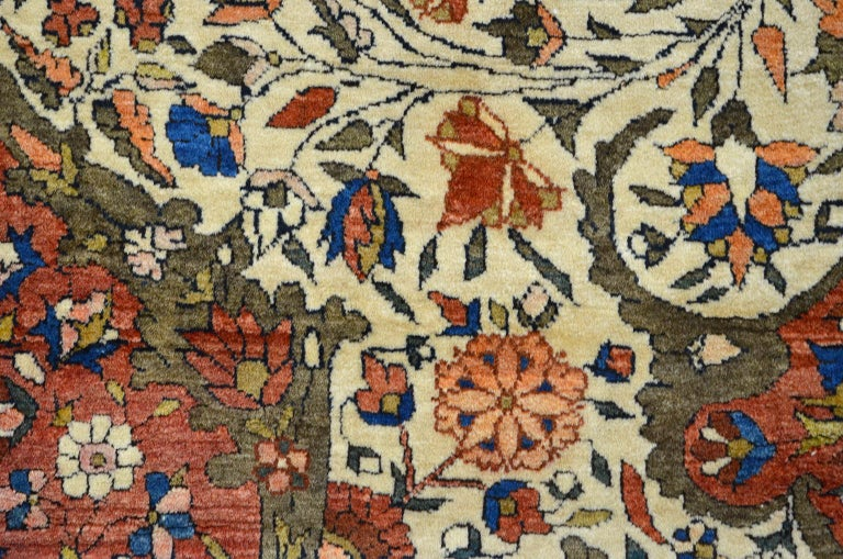 Red, Cream, and Light Blue Antique Persian Farahan Carpet c. 1890 in Pure Wool For Sale 2