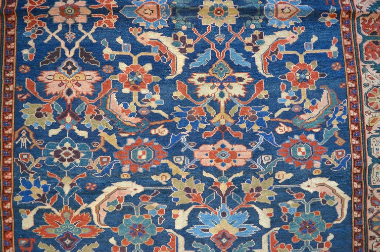 Antique Persian Farahan Sarasar Carpet circa 1880 in Pure Handspun Wool In Good Condition For Sale In New York, NY