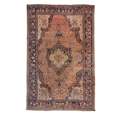 Antique Persian Farahan Sarouk Carpet, Light Orange & Navy Field, Mansion Carpet