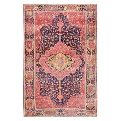 Antique Persian Feraghan Sarouk Rug in Indigo and  Blue, Rose and Green