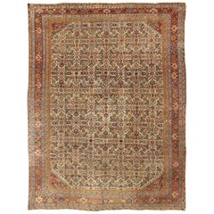 Antique Persian Ferahan Rug with All-Over Herati Design in Ivory, Coral, Green