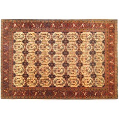 Antique Persian Ferahan Sarouk Oriental Carpet, in Small Size with Ivory Circles