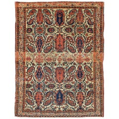 Antique Persian Fine Mission Malayer Rug in Ivory, Red, Blue,  Brown
