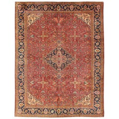 Antique Persian Fine Weave Sultanabad Rug in Tomato Red Background