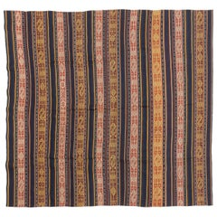 Antique Persian Flat-Weave Jajim Rug with Geometric Details and Colored Stripes