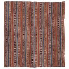 Antique Persian Flat-Weave Jajim Rug with Tribal Details & Colored Stripes
