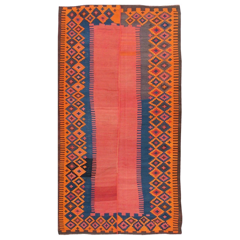 Antique Persian Flat-Weave Kilim Rug