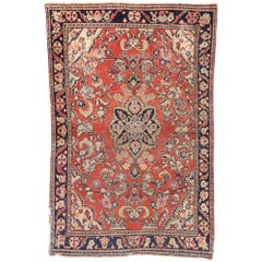 Antique Persian Floral Mahal Rug with Traditional Style