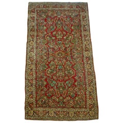 Antique Persian Floral Red and Gold Sarouk Area Rug, c. 1920s