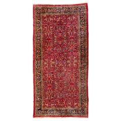 Antique Persian Floral Red Sarouk Carpet circa 1880s-1900s