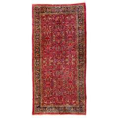 Antique Persian Floral Red Sarouk Carpet, circa 1880s-1900s