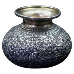 Antique Persian Floral Repousse .800 Silver Squat Vase, circa 1900