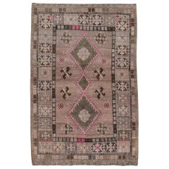 Antique Persian Gabbeh Rug, Light Brown Field, Pink & Green Accents, circa 1930s
