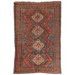 Antique Persian Ghashgai Red and Navy Geometric Rug circa 1920s 1930s