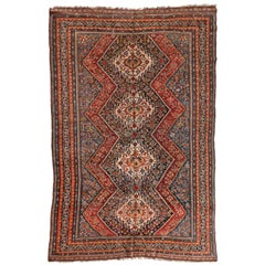 Antique Persian Ghashgai Red and Navy Tribal Geometric Rug, circa 1920s 1930s