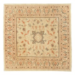 Antique Persian Haji Jalili Square Rug with Black and Brown Floral Details