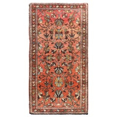 Antique Persian Hamadan Carpet with Floral Designs in Soft Orange Red and Brown