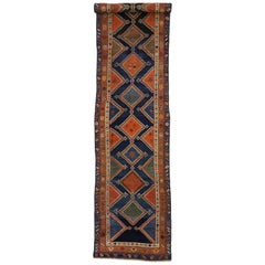 Antique Persian Hamadan Chenar Runner with Tribal Art Deco Style