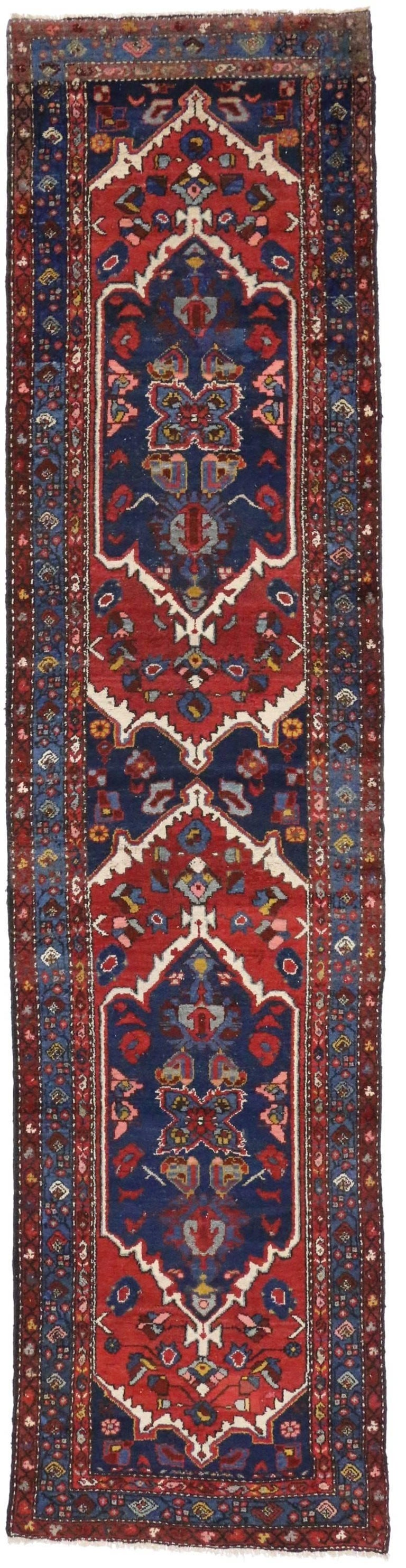 Antique Persian Hamadan Extra-Long Hallway Runner with English Manor Tudor Style For Sale 4