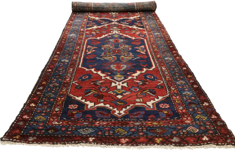 Hand-Knotted Antique Persian Hamadan Extra-Long Hallway Runner with English Manor Tudor Style For Sale