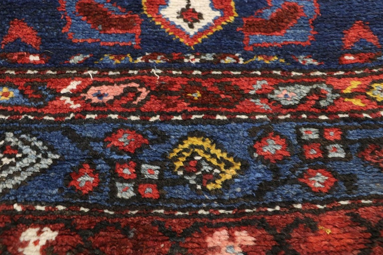 Antique Persian Hamadan Extra-Long Hallway Runner with English Manor Tudor Style In Good Condition For Sale In Dallas, TX