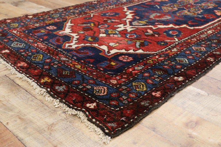 Wool Antique Persian Hamadan Extra-Long Hallway Runner with English Manor Tudor Style For Sale