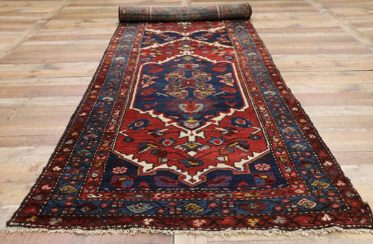 Antique Persian Hamadan Extra-Long Hallway Runner with English Manor Tudor Style For Sale 1