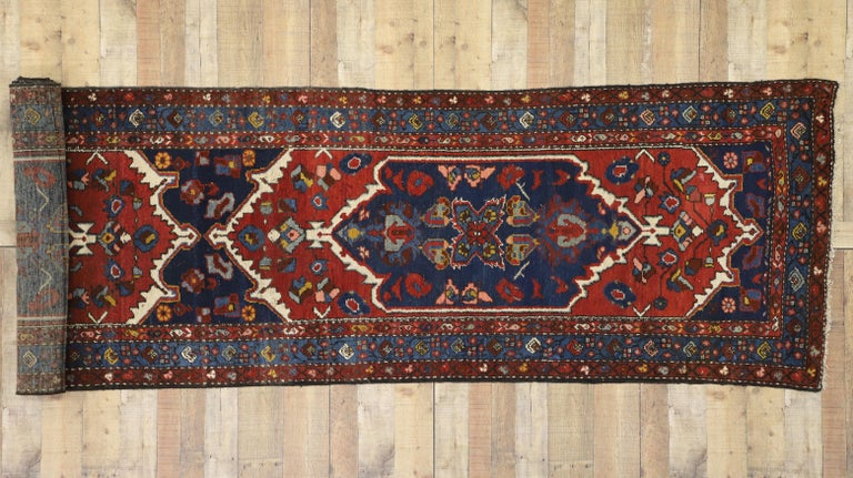 Antique Persian Hamadan Extra-Long Hallway Runner with English Manor Tudor Style For Sale 2